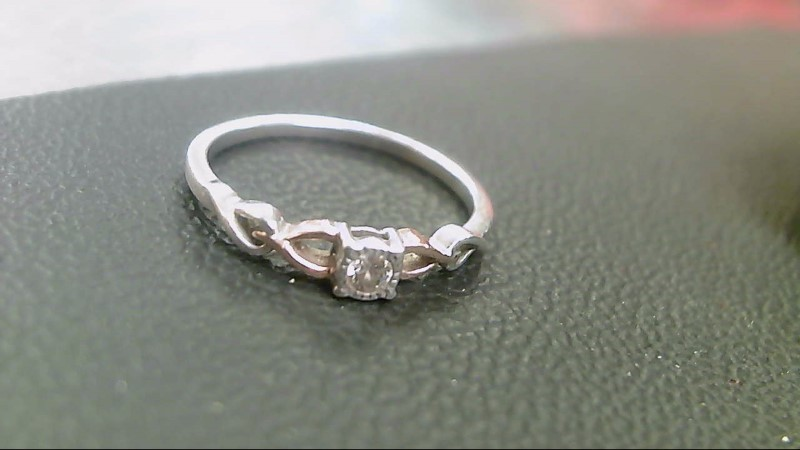 Lady's Diamond Solitaire Ring .03 CT. 10K 2 Tone Gold 1.4g