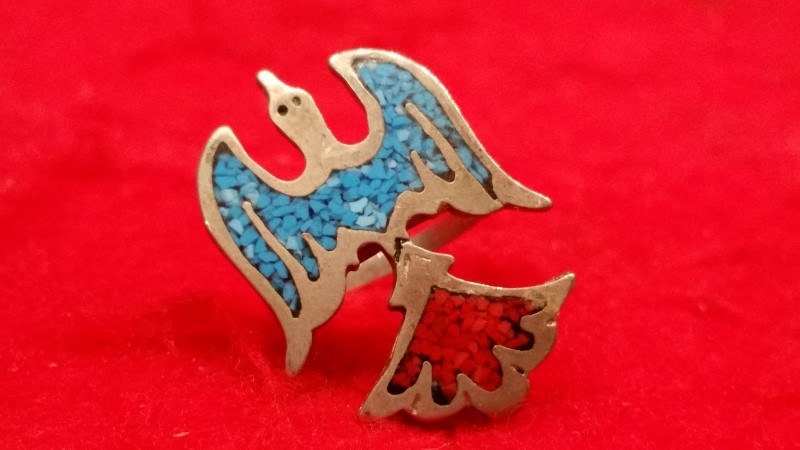 Native American Indian Eagle Lady's Silver Ring 925 Silver 4.6g Size:5.5