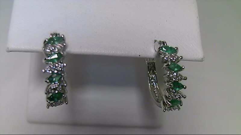 Genuine Marquise Emerald Silver Earrings 925
