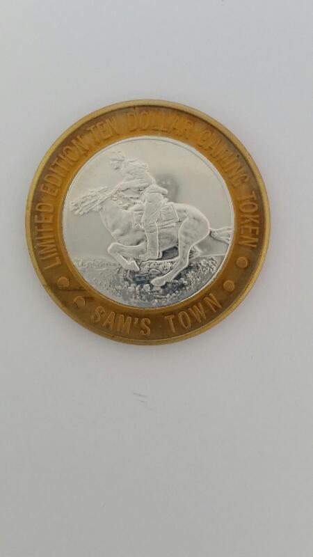 Limited Edition Sam's Town Las Vegas $10 Ten Gaming Token .999 Silver 36g