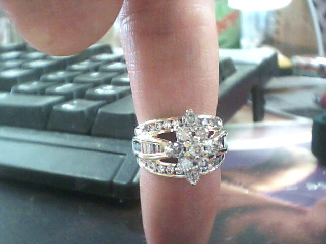 Lady's Diamond Cluster Ring 41 Diamonds 1.28 Carat T.W. 10K Yellow Gold 4.6dwt