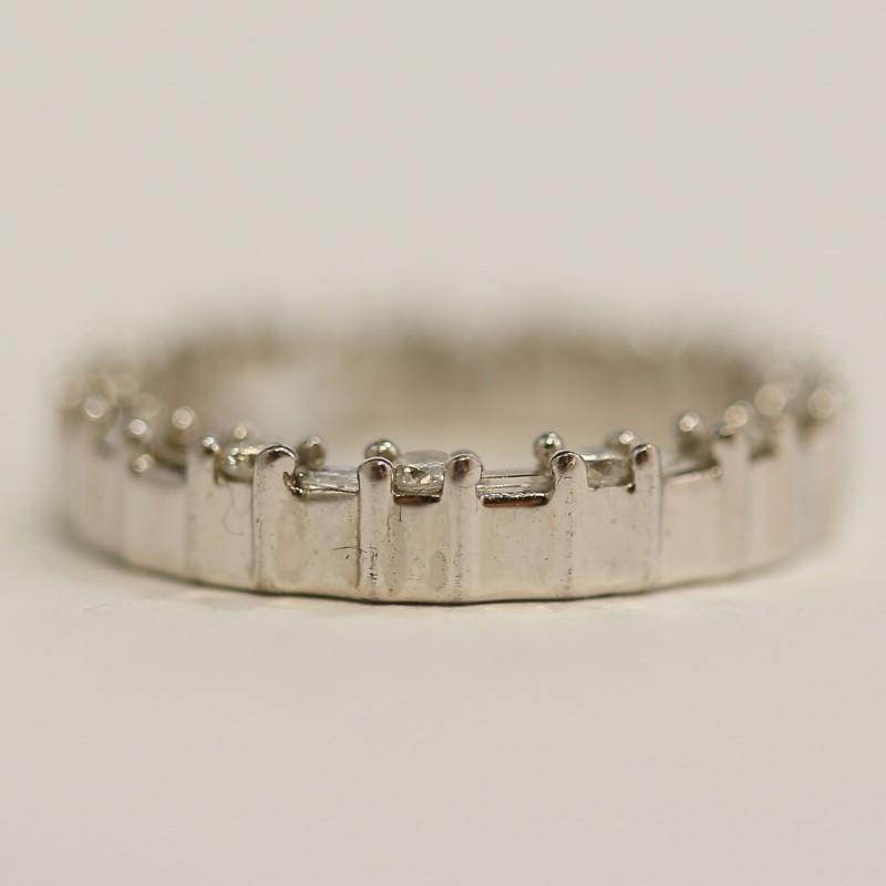 10K White Gold Alternating Brilliant & Baguette Cut Diamond Pendant
