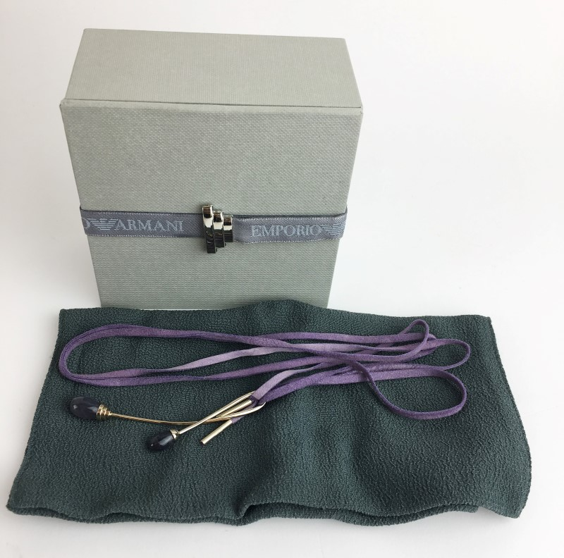 EMPORIO ARMANI 18K WG IOLITE BYPASS PENDANT WITH LAVENDER SUEDE CORD