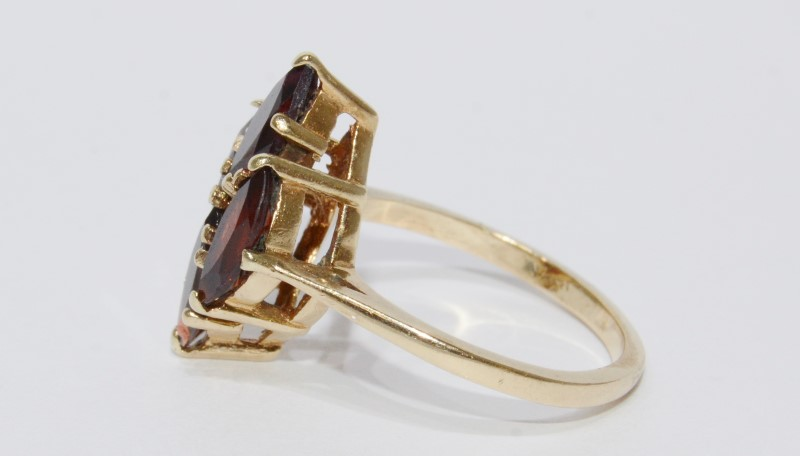 10k Yellow Gold Garnet Marquise Cluster Cathedral Set Ring-Size 5.5