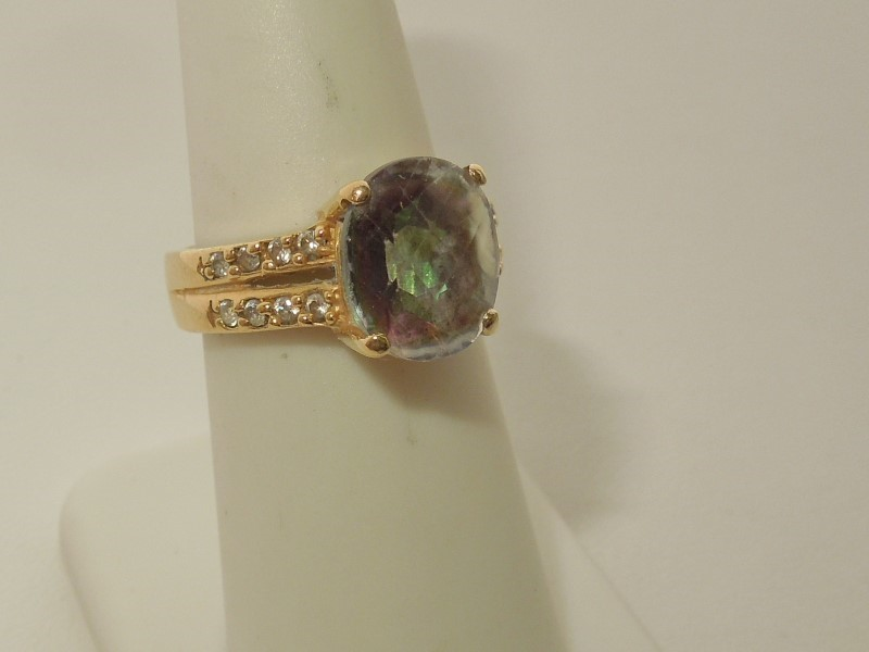 Synthetic Alexandrite Lady's Stone Ring 14K Yellow Gold 6.5g