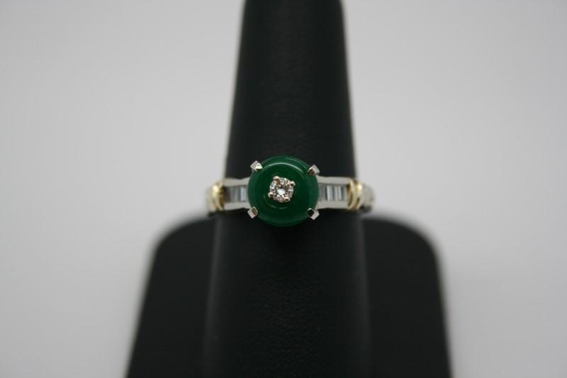 LADY'S FASHION DIAMOND & JADE RING 2TONE 14K GOLD