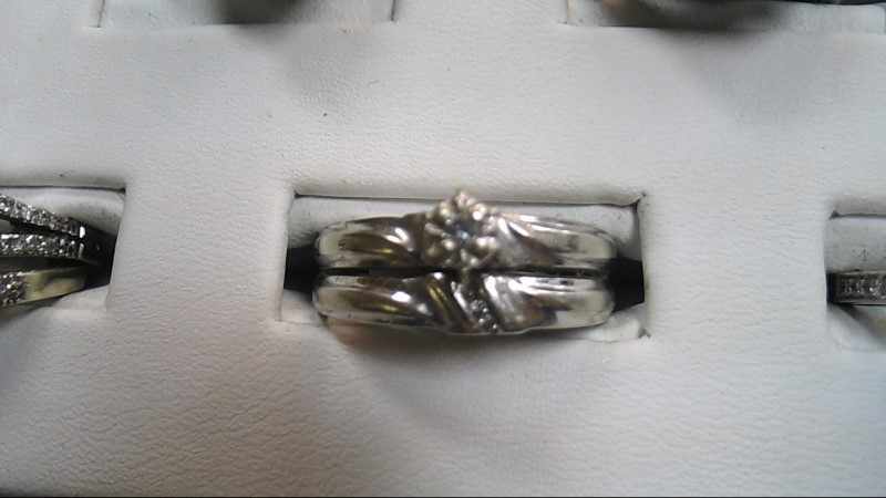 Lady's Diamond Wedding Set 4 Diamonds .08 Carat T.W. 10K White Gold 4.1g