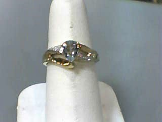 Synthetic Aquamarine Lady's Stone Ring 10K Yellow Gold 1.2dwt Size:7