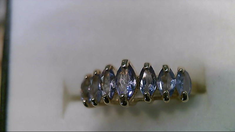 Synthetic Tanzanite Lady's Stone Ring 10K Yellow Gold 2.3g Size:7