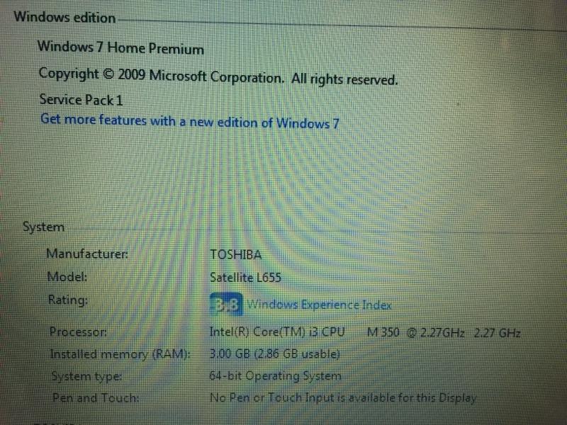 TOSHIBA Laptop/Netbook SATELLITE L655-S5074
