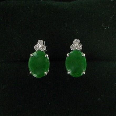 Green Stone Gold-Diamond & Stone Earrings 6 Diamonds .06 Carat T.W.
