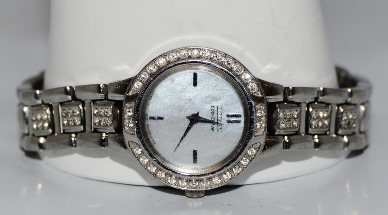 Citizen Eco-Drive Mother of Pearl St. Steel Crystal Women's Watch