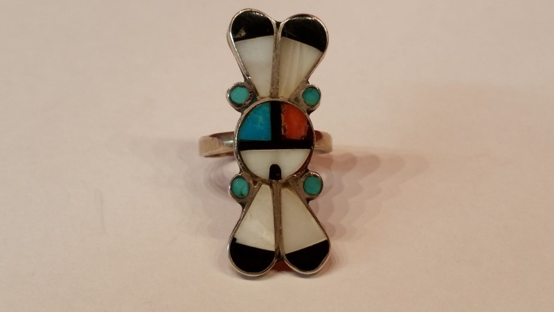 Native American Indian Lady's Silver Ring 925 Silver 7.1g Size:10.5