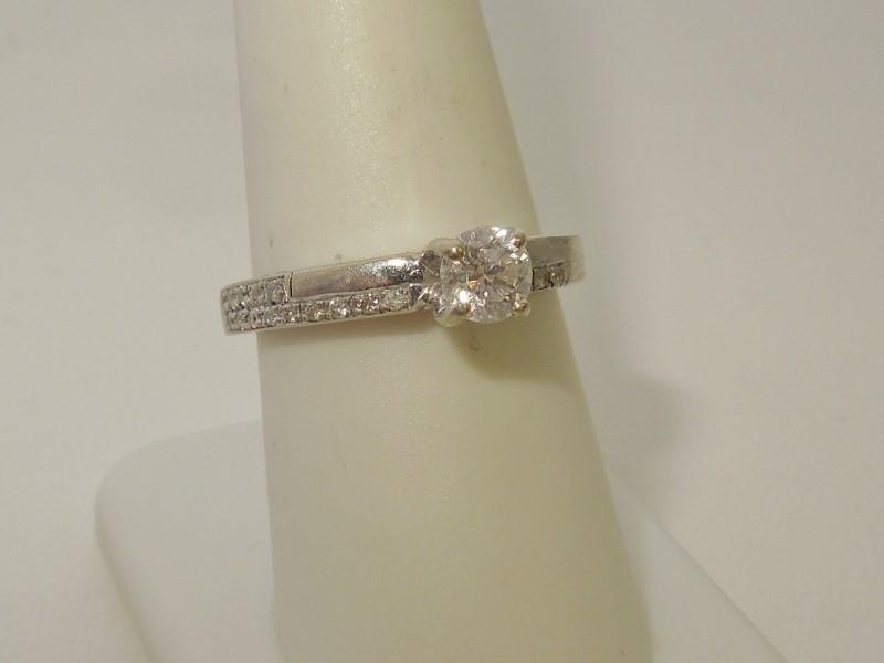 Lady's Diamond Engagement Ring 18 Diamonds .50 Carat T.W. 14K White Gold 5.2g