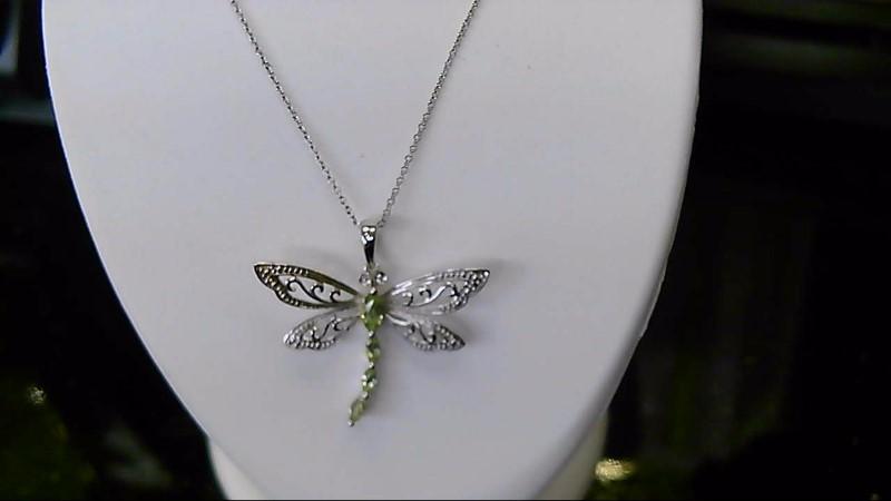 August Birthstone Dragonfly Peridot Silver Diamond & Stone necklace