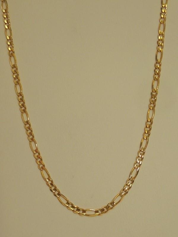 """20"""" Gold Figaro Chain 14K Yellow Gold 8.4g"""