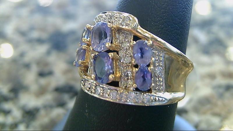 Synthetic Tanzanite Lady's Stone & Diamond Ring 22 Diamonds .22 Carat T.W.
