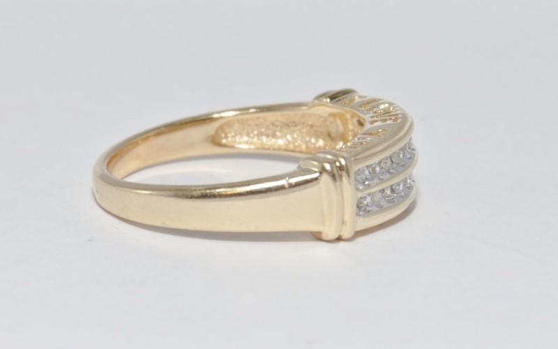 14K Yellow Gold Channel Set Double Row Diamond Wedding Band sz 7