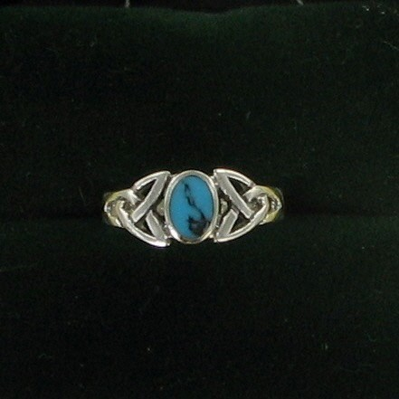 Synthetic Turquoise Lady's Silver & Stone Ring 925 Silver 3.8dwt