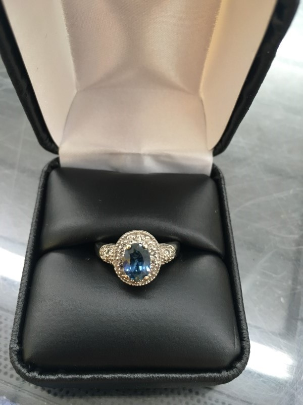Synthetic Sapphire Lady's Stone & Diamond Ring 17 Diamonds .17 Carat T.W.