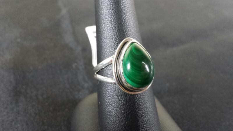 Pear Jade Lady's Silver & Stone Ring 925