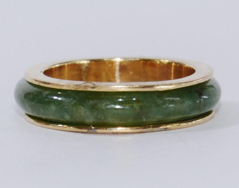 10K Yellow Gold Cabochon Dark Green Jade Infinity Ring Size 6
