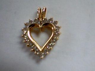 Gold-Multi-Diamond Pendant 20 Diamonds .60 Carat T.W. 14K Yellow Gold 1.8g