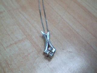 Diamond Necklace 5 Diamonds .005 Carat T.W. 14K White Gold 2.9g
