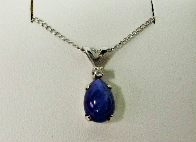 Synthetic Star Sapphire Diamond & Stone Necklace .01 CT. 14K White Gold 1.08dwt