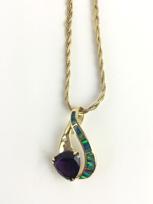 Amethyst Opal Diamond Necklace 14K Yellow Gold 17g