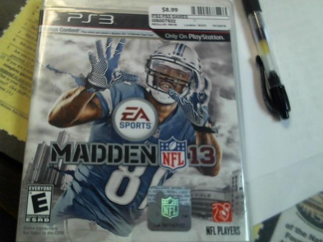 SONY PS3 MADDEN NFL 13