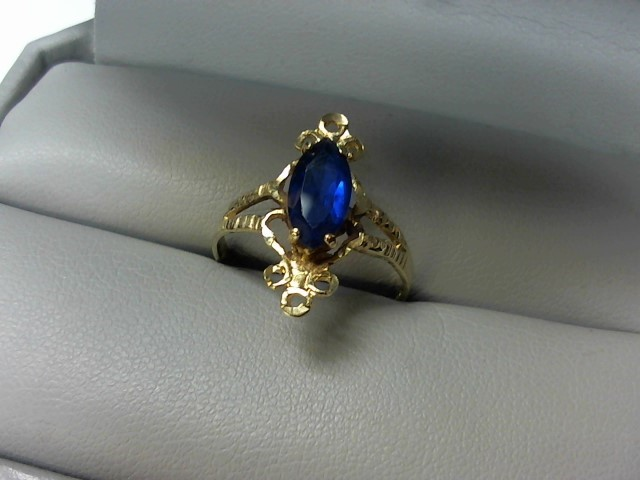 Blue Stone Lady's Stone Ring 14K Yellow Gold 2.3g