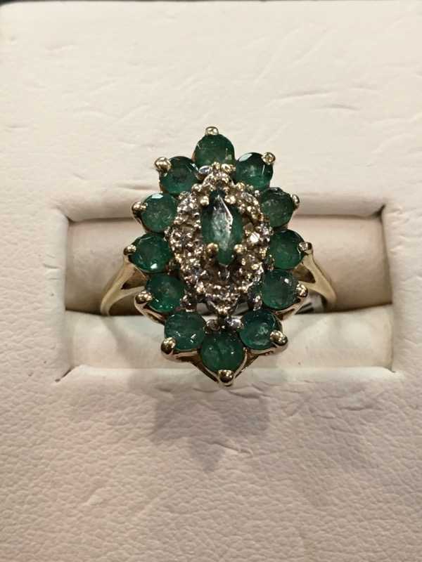 Synthetic Emerald Lady's Stone Ring 14K Yellow Gold 2dwt Size:6.5