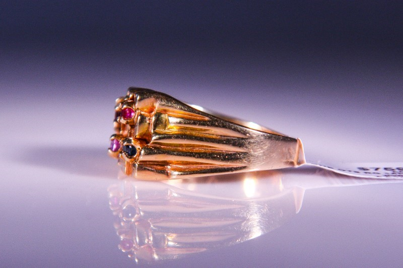 Synthetic Almandite Garnet Gent's Stone Ring 14K Yellow Gold 11.3g