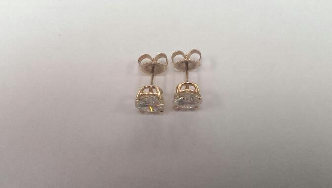 Cubic Zirconia Gold Earrings 14K Yellow Gold 1.9g