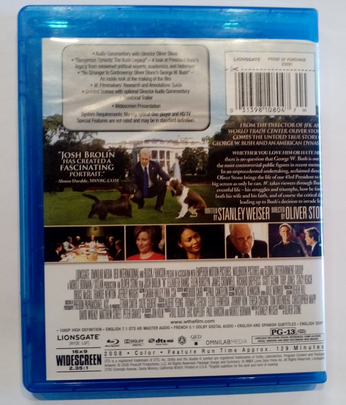 BLU-RAY MOVIES OLIVER STONE'S W. ,STARRING JOSH BROLIN (2008)