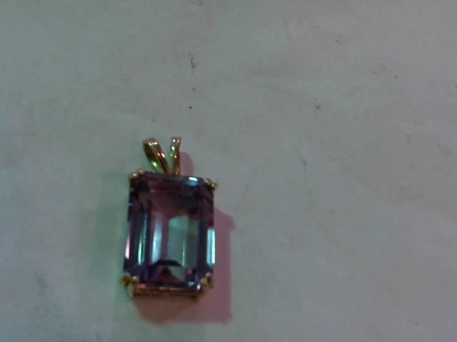 Purple Stone Gold-Stone Pendant 14K Yellow Gold 5.9g
