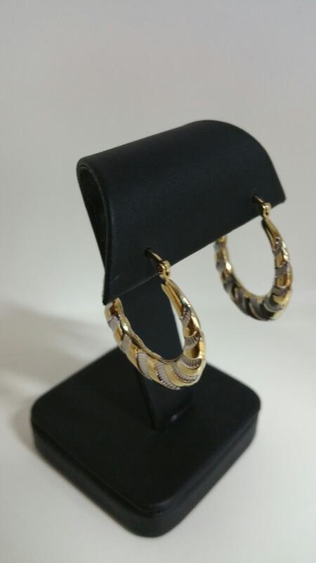 HOOP Gold Earrings 10K 2 Tone Gold 1.9dwt
