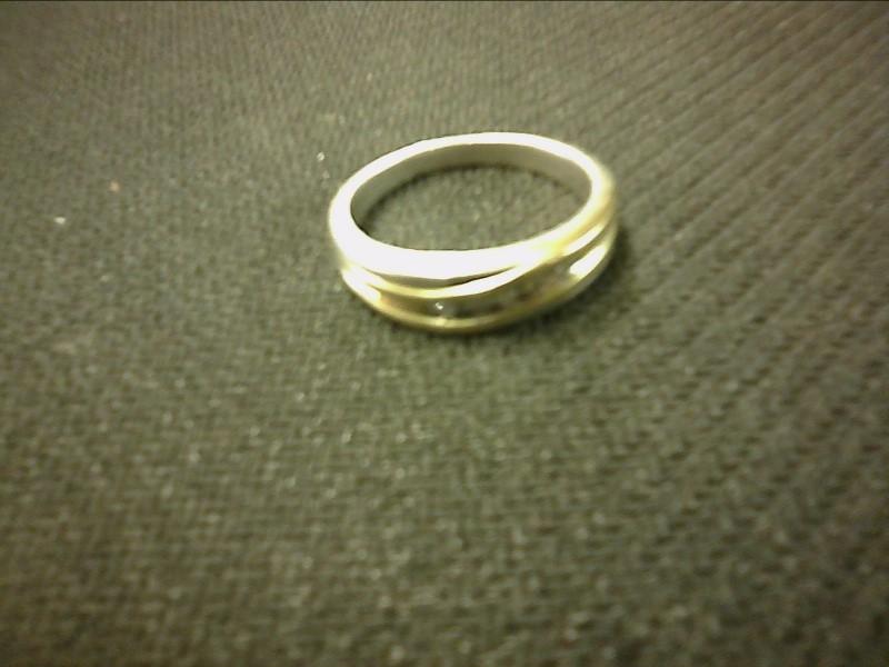 Gent's Silver-Diamond Ring 5 Diamonds .05 Carat T.W. 925 Silver 2dwt