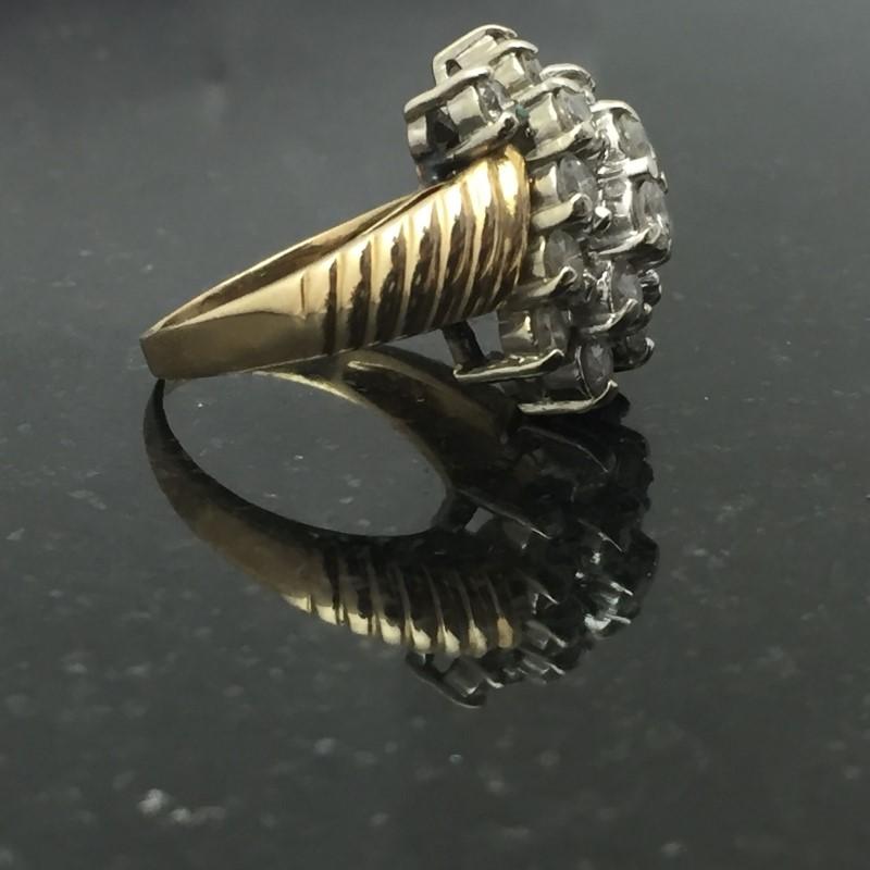 Lady's Diamond Cluster Ring 18 Diamonds 1.98 Carat T.W. 14K Yellow Gold 4.1dwt