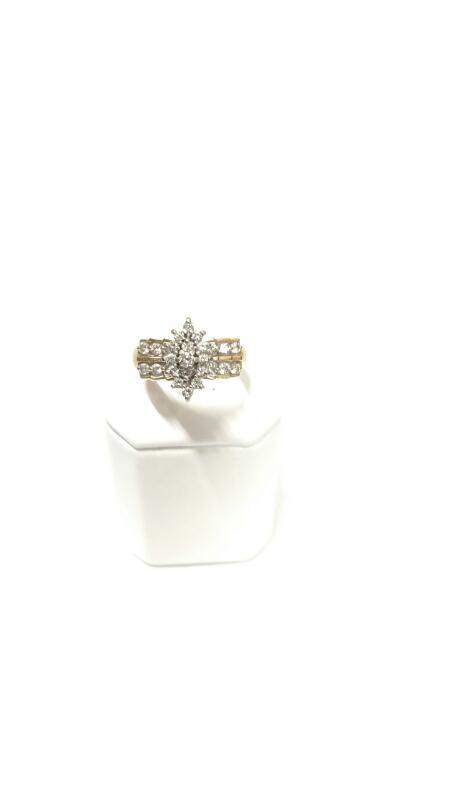 14K Y/G Lady's Diamond Cluster Ring DIAMOND 27 Diamonds .69 Carat T.W.