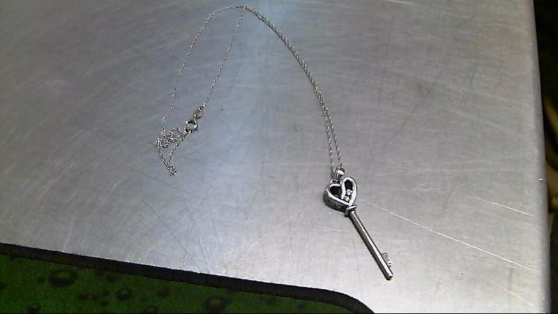 Diamond Necklace 5 Diamonds .12 Carat T.W. 925 Silver 4.8g