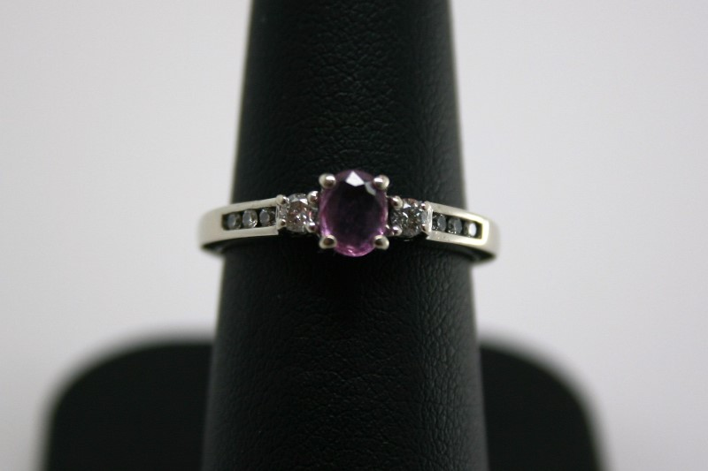 LADY'S FASHION PINK SAPPHIRE W/ DIAMOND 14K WHITE GOLD