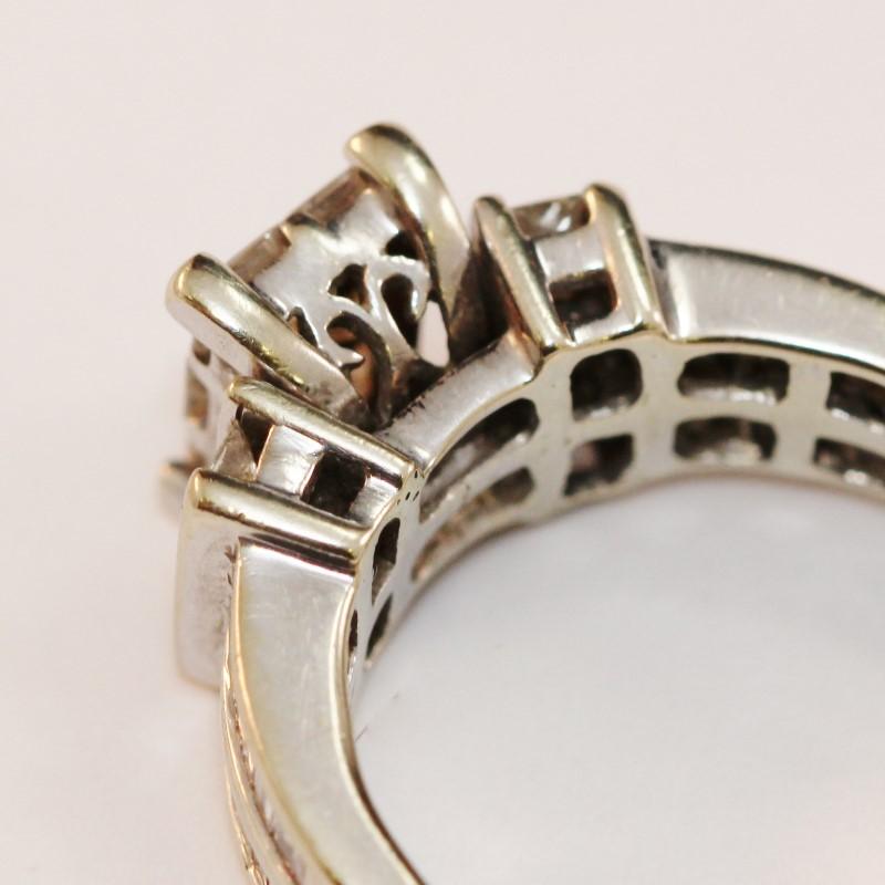 Vintage Inspired 18K White Gold Diamond Engagement Ring Size 8.5