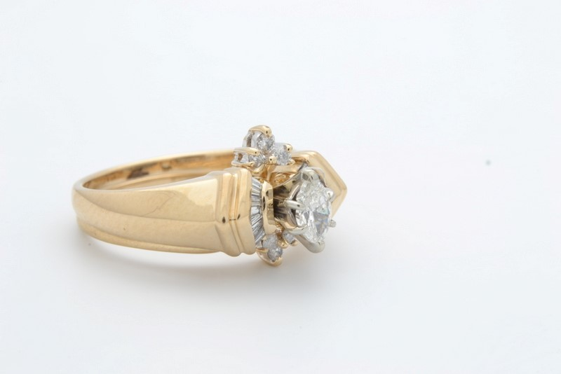 ESTATE DIAMOND WEDDING SET RING BAND SOLID 14K GOLD ENGAGEMENT SZ 7