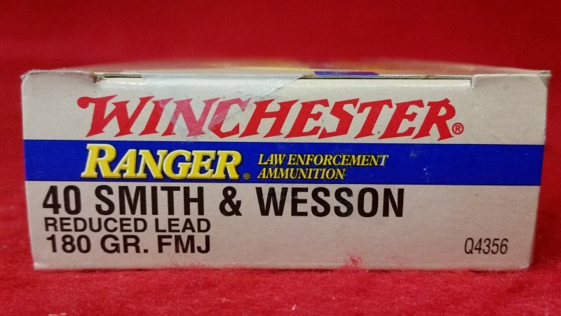 Winchester 40 S&W 180gr FMJ Reduced Lead Law Enforcement Ammo - 50 Rounds