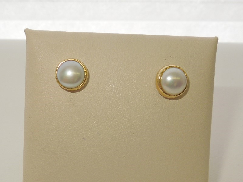 Synthetic Pearl Gold-Stone Earrings 14K Yellow Gold 2.2g