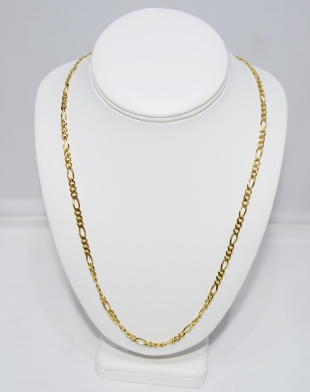 """14K Yellow Gold 24"""" Figaro Chain Necklace w/ Lobster Clasp"""