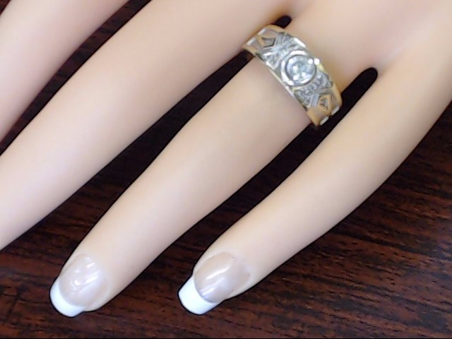 ESTATE CZ STONE DECO DESIGN RING BAND SOLID REAL 14K GOLD 7MM SIZE 7