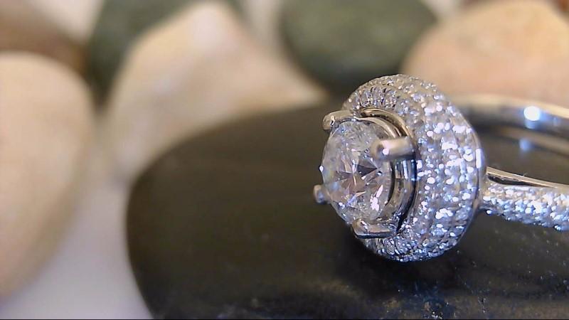 Designer Scott Kay 3/4 CT Center Round Diamond Platinum Ring